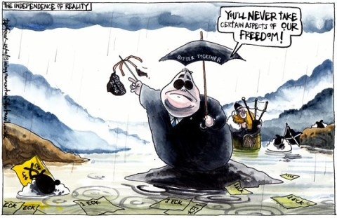 Iain Green - The Scotsman, Scotland - SCOTTISH STERLING ZONE CURRENCY PLAN RUBBISH - English - Scotland, scottish independence, alex salmond, george osborne, sterling zone, pound, sterling, umbrella, sheep, bagpipes, misty mountains, rain