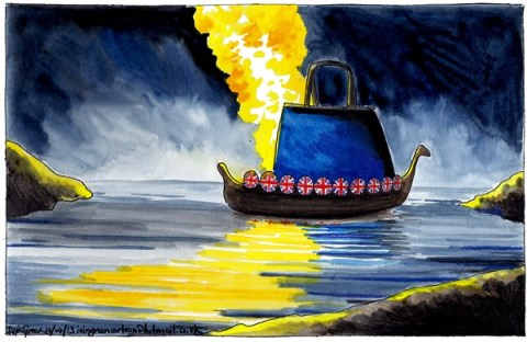 Iain Green - The Scotsman, Scotland - FAREWELL MARGARET THATCHER - English - UK, Margaret thatcher, hand bag, viking funeral, viking long boat, fire, funeral pyre