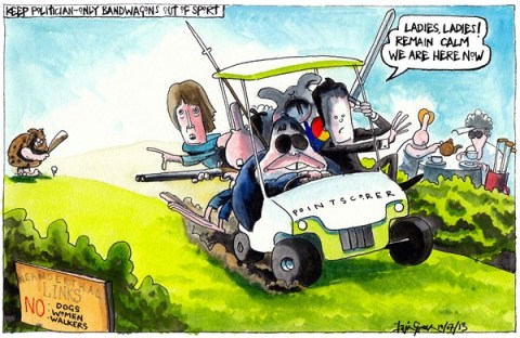 Iain Green - The Scotsman, Scotland - MEN ONLY GOLF CLUBS BANDWAGON - English - UK, scotland, golf, golf clubs, men only, political bandwagons, golf buggy, nick clegg, harriet harman, alex salmond, ladies, tea, golf course