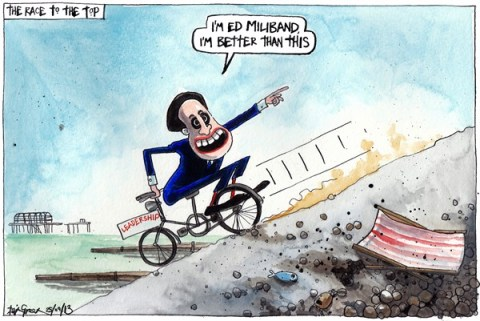 Iain Green - The Scotsman, Scotland - ED MILIBANDS LEADERSHIP POTENTIAL - English - UK, Britain, labour, labour party, conference, ed miliband, brighton, bicycle,