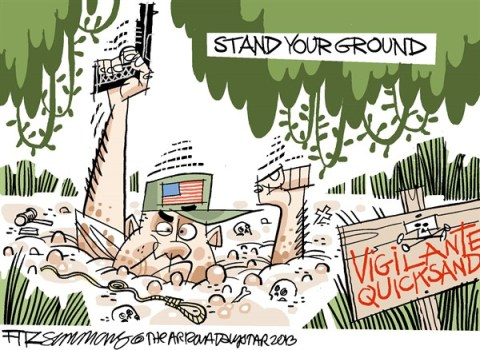 David Fitzsimmons - The Arizona Star - stand your ground - English - stand your ground, zimmerman, guns, race