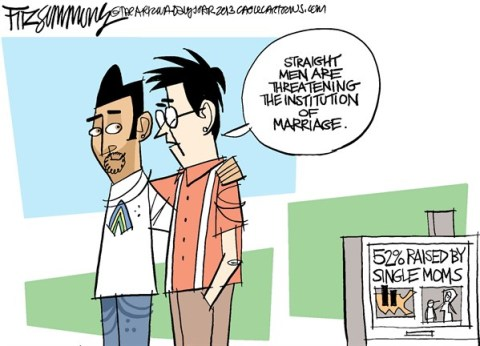 David Fitzsimmons - The Arizona Star - marriage threatened - English - single moms, fathers, gay marriage