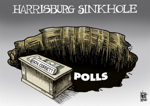 Randy Bish - Pittsburgh Tribune-Review - LOCAL- PA GOVERNOR DROPPING FAST, COLOR - English - PENNSYLVANIA, GOVERNOR CORBETT, POLLS