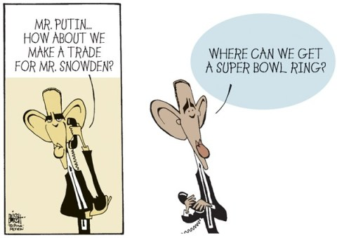 Randy Bish - Pittsburgh Tribune-Review - TRADING FOR SNOWDEN, COLOR - English - EDWARD SNOWDEN, SNOWDEN, OBAMA, PUTIN, SUPER BOWL RING, RUSSIA, SECRETS