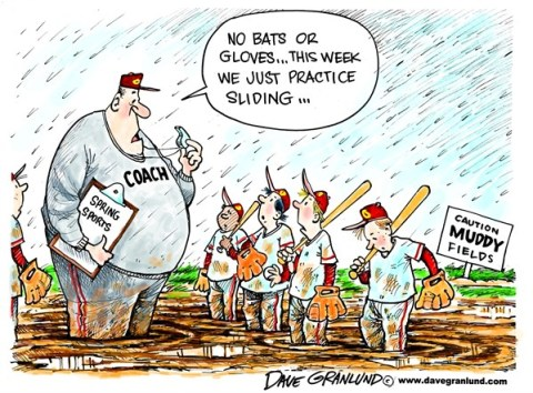 Dave Granlund - Politicalcartoons.com - Muddy sports fields - English -