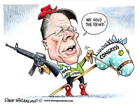 Dave Granlund - Politicalcartoons.com - NRA and Congress - English - NRA, Congress, assault weapons, magazines, bullets, ammo, ammunition,guns, gun control, background checks, politics, money, gun permits, gun rights, 2nd amendment, right to bear arms, killing, murders, shootings, victims, gun lobby, gun makers, AR-15