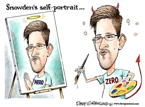 Dave Granlund - Politicalcartoons.com - Snowden self-portrait - English - edward snowden, NSA, secrets, stolen, contractor, spying, doctuments, top secret, us security, data, russia, china, hong kong, equador, running, hiding, treason, traitor, coward, rat, leaker, leaked