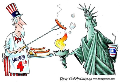 Dave Granlund - Politicalcartoons.com - July 4th cookout - English - Fourth of July, July 4th, independence day, Uncle sam, statue of liberty, 1776, patriots, patriotism, USA, america, united states, cookout, BBQ barbecue, celebration, 4th, fourth, holiday, hot dogs