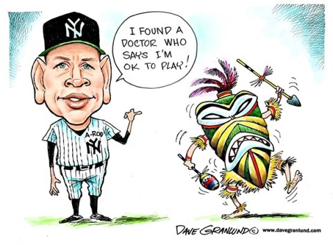 Dave Granlund - Politicalcartoons.com - A-rod on disabled list - English - alex rodriguez, yankees, new york, bombers, steroids, drugs, mlb, baseball, scandal, injuries, doctors, second opinion, a-rod, pro ball, pro sports, team doctor, hip