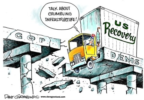 Dave Granlund - Politicalcartoons.com - Crumbling infrastructure - English - Infrastructure, roads, bridges, falling crumbling, pot holes, cracks, repairs, paving, ruts, collapse, gop, democrats, dems, republicans, gridlock, gaps, divide, apart, do-nothing, congress, obstruction, no, dead end