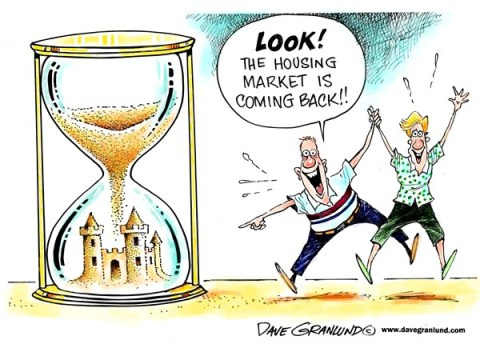 Dave Granlund - Politicalcartoons.com - Housing market coming back - English - homes, values, real estate, investment, equity, homeowners, sand castle, costs, prices, housing, home market, families, economy, buyers, sellers, movement, sales, sold, houses, condos,