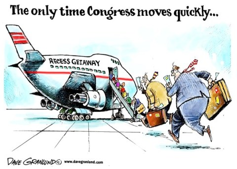 Dave Granlund - Politicalcartoons.com - Congress recess - English - congress, senate, house, unfinished work, vacation, getaway, leaving, do-nothing, do nothing, business, work, gridlock, slow, standstill, capitol hill, congressmen