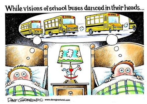 Dave Granlund - Politicalcartoons.com - School start - English - School,students,first day,jitters,butterflies,worry,sleepless,awake,fears,end of summer,vacation ends,school vacation ends,start of school,school bus,school buses,school begins,night before,school 2013