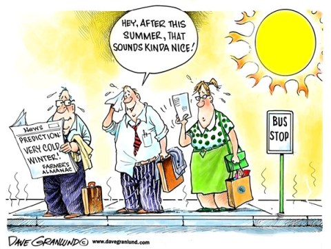 Dave Granlund - Politicalcartoons.com - Winter prediction - English - Farmers almanac, farmers almanac, farmers almanac, winter, weather, cold, extreme cold summer, heatwave, hot, steamy, scorcher, heavy snow, summer weather, sweating,deep snow, predictions, forecast,
