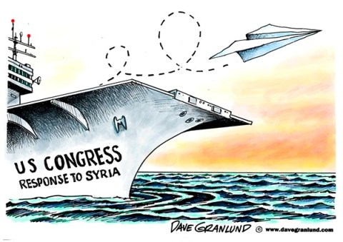 Dave Granlund - Politicalcartoons.com - Congress response to Syria - English - Congress, left wing, liberals, conservatives, non support, weak, attack on syria, response, reply,gas, sarin, nerve, nerve gas, killed, civilians,