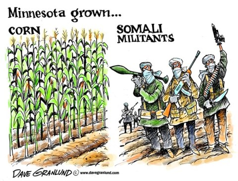 Dave Granlund - Politicalcartoons.com - Minnesota grown militants - English - somalis, somali, islamists, islam, terrorists, homegrown, Minneapolis, Minnesota, fighters, militia, youth, young somalis, trained, al qeada, islamis, muslim, extremists