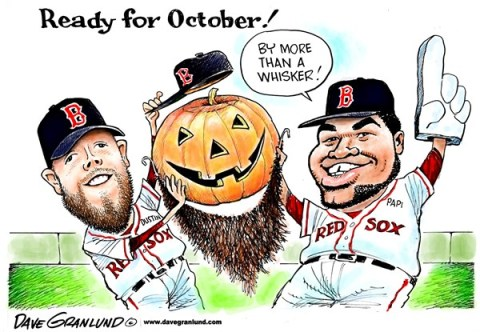Dave Granlund - Politicalcartoons.com - Red Sox ready - English - 		Boston,New England,Massachusetts,MLB,major league,baseball,Papi,Big Papi,ortiz,Dustin,beards,Fenway,AL east,champs,2013,october,Pedroia,playoffs,series,first,team,david ortiz,games,sports,pro sports