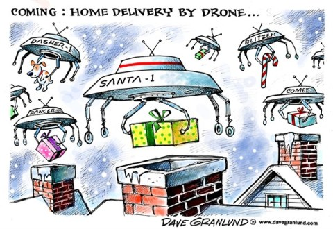 Dave Granlund - Politicalcartoons.com - Drone home delivery - English - Drones, robots, packages, Christmas, amazon, deliveries, airborne, door-to-door, doorstep, chimney, santa, reindeer, Santa Claus, homes, home, orders, service, shipping