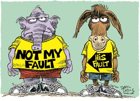 Not My Fault © Daryl Cagle,CagleCartoons.com,Republicans,Democrats,elephants,donkeys,Not My Fault,Fiscal Cliff,Congress