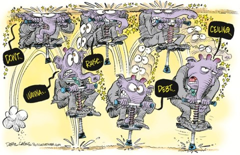 Daryl Cagle - CagleCartoons.com - Debt Ceiling Pogo Stick COLOR - English - Republican, elephant, pogo stick, pogo-stick, debt ceiling, congress, deficit, toys, sports, Debt Ceiling