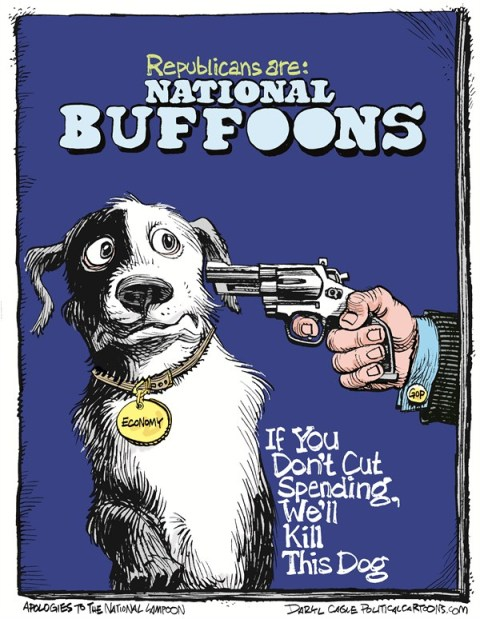 Daryl Cagle - CagleCartoons.com - National Buffoons COLOR - English - Republicans,gun,pistol,handgun,debt ceiling,deficit spending,dog,shoot,kill,National Lampoon,magazine,Debt Ceiling