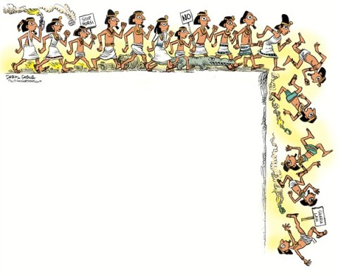 Daryl Cagle - CagleCartoons.com - Egyptian Lemmings COLOR - English - lemmings,rodents,cliff,Egypt,Mohamad,Muhammad Morsi,Morsy,history,paintings,hyroglyphics,pyramid,riots,revolution,Arab Spring