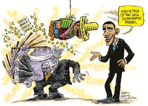 Daryl Cagle - CagleCartoons.com - Republicans and Immigration Pinata COLOR - English - elephant,President Barack Obama,pinata,mexico,immigration,congress, immigration reform, obama immigration, republicans