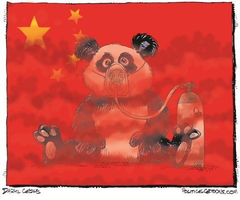 Daryl Cagle - CagleCartoons.com - Pollution in China COLOR - English - China,environment,air pollution,smog,Bejing,Beijing,Peking,smoke,flag,chinese flag