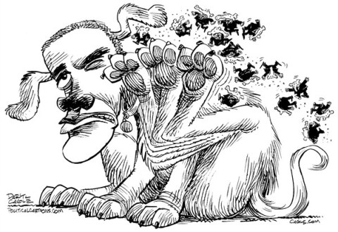 Daryl Cagle - CagleCartoons.com - Obama Has Fleas - State of the Union - English - President Barak Obama,dog,fleas,elephants,scratch,itch,politics,State of the Union,republicans
