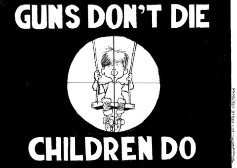 Bill Schorr - Cagle Cartoons - Guns Dont Die - English - guns,die,violence,kids,death,shooting,connecticut-shooting