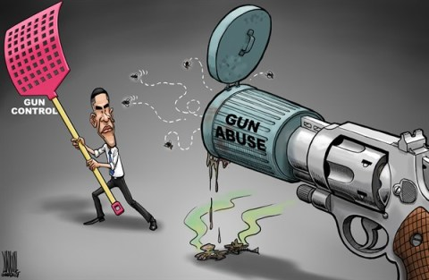 Luojie - China Daily, China - Gun control - English - US,Obama,gun control,gun abuse,fly,fly-swatter