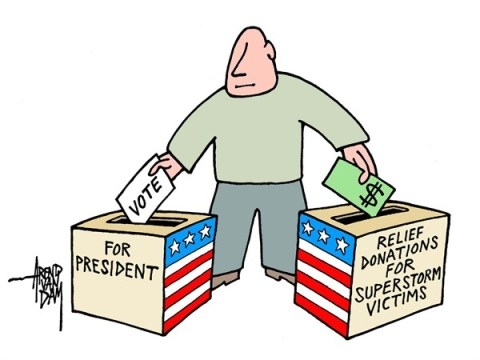 Arend Van Dam - politicalcartoons.com - relief donations - English - relief donations, superstorm victims, Sandy victims, relief fund