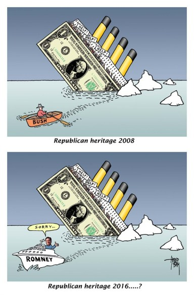 Arend Van Dam - politicalcartoons.com - Romney heritage 2016 - English - Republican heritage, 2016, Bush, crisis, US debt, national debt, debt crisis