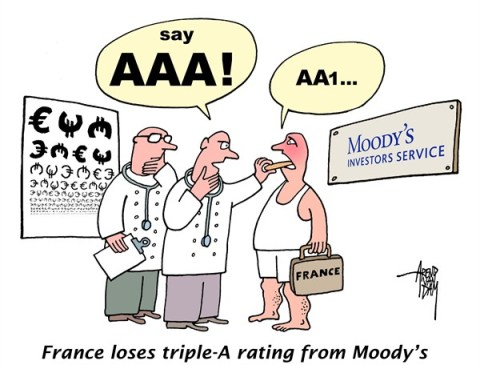 Arend Van Dam - politicalcartoons.com - France and Moody's - English - France, Moodys, triple-A, AAA, AA1, credit rating, credt raters