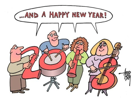 Arend Van Dam - politicalcartoons.com - 2013 orchestra - English - 2013, new year, happy new year, music