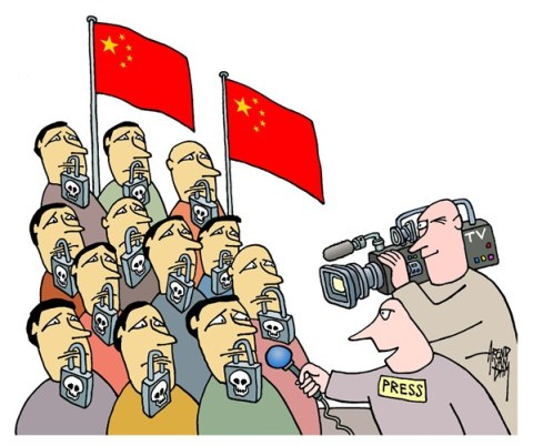 Arend Van Dam - politicalcartoons.com - freedom of speech - English - China, freedom of speech, press freedom, censorship