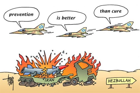 Arend Van Dam - politicalcartoons.com - prevention - English - Hezbollah, missiles, preemptive strike, prevention, prevention is better than cure, Israel, MidEast, Iran, Syria, air strike