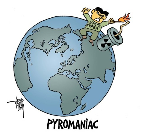 Arend Van Dam - politicalcartoons.com - PyroManiac - English - North Korea, nuclear weapons