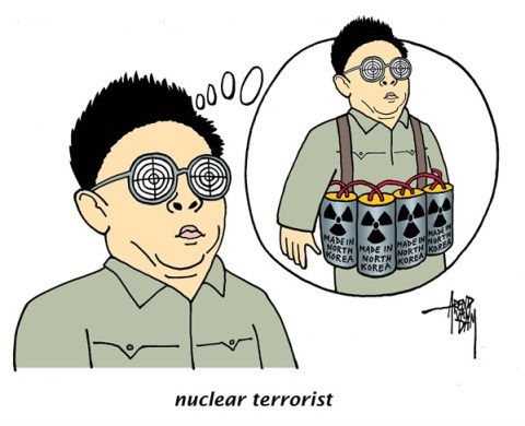 Arend Van Dam - politicalcartoons.com - nuclear terrorist - English - North Korea, nuclear threat, South Korea, United Nations, Geneve