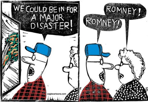 Randall Enos - Cagle Cartoons - Major Disaster - English - Hurricane Sandy,romney,presidential election