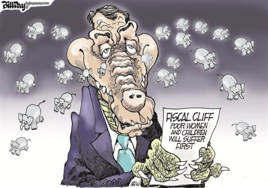 Bill Day - Cagle Cartoons - CrocoBoehner Tears - English - fiscal cliff, John Boehner, crocodile tears, poor, women, children