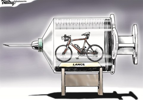 Bill Day - Cagle Cartoons - Bike in the Needle - English - Lance Armstrong, doping, cycling, Oprah