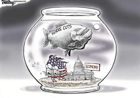 Bill Day - Cagle Cartoons - Piranha  COLOR - English - Congress, economy, cuts, Obama,