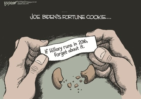 Fortune Cookie © Steve Breen,The San Diego Union Tribune,hillary clinton,2016,fortune,joe biden,cookie,presidential,campaign