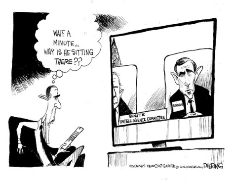 Intelligence Committee © John Deering,The Arkansas Democrat Gazette,petraeus,affair,intelligence,email,woman,senate,general,obama,petraeus-affair,petraeus affair, petraeus resigns