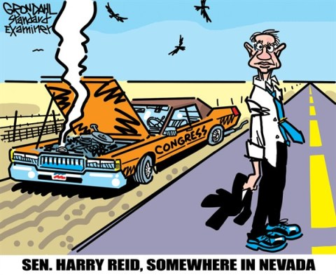 Somewhere in Nevada © Cal Grondahl,Utah Standard Examiner,harry reid,senator,nevada,broken,congress