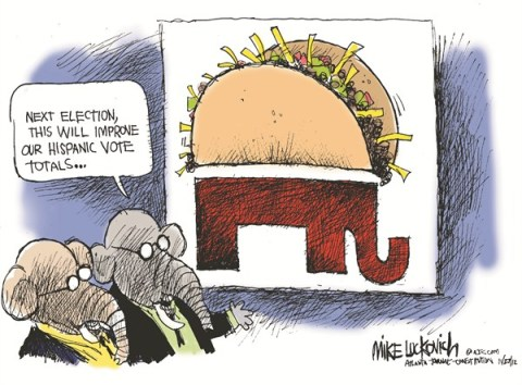 Hispanic Vote © Mike Luckovich,The Atlanta Journal Constitution,election,gop,hispanic,vote,taco,logo,food