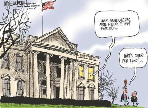 Lunch at the White House © Mike Luckovich,The Atlanta Journal Constitution,lunch,white house,romney,obama