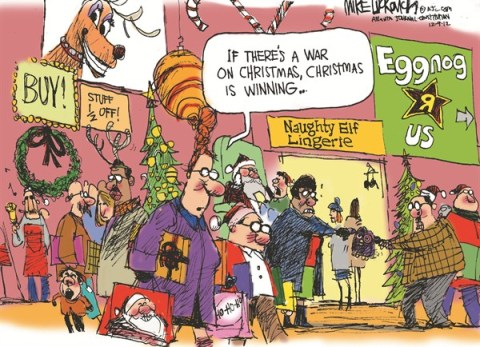 Christmas is Winning © Mike Luckovich,The Atlanta Journal Constitution,christmas 2012,presents,mall,fighting,Christmas 2012, gifts, holiday shopping 2012