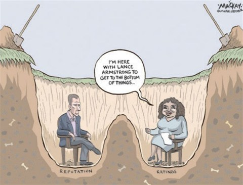 Lance and Oprah © Grame MacKay,The Hamilton Spectator, Ontario Canada,lance armstrong,oprah,ratings,admission,doping,steroids,reputation,armstrong-admission